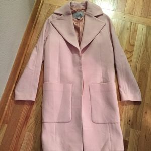 Pure Collection long, lined pink coat, size 2